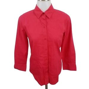 theory P pink button front linen blend long sleeve